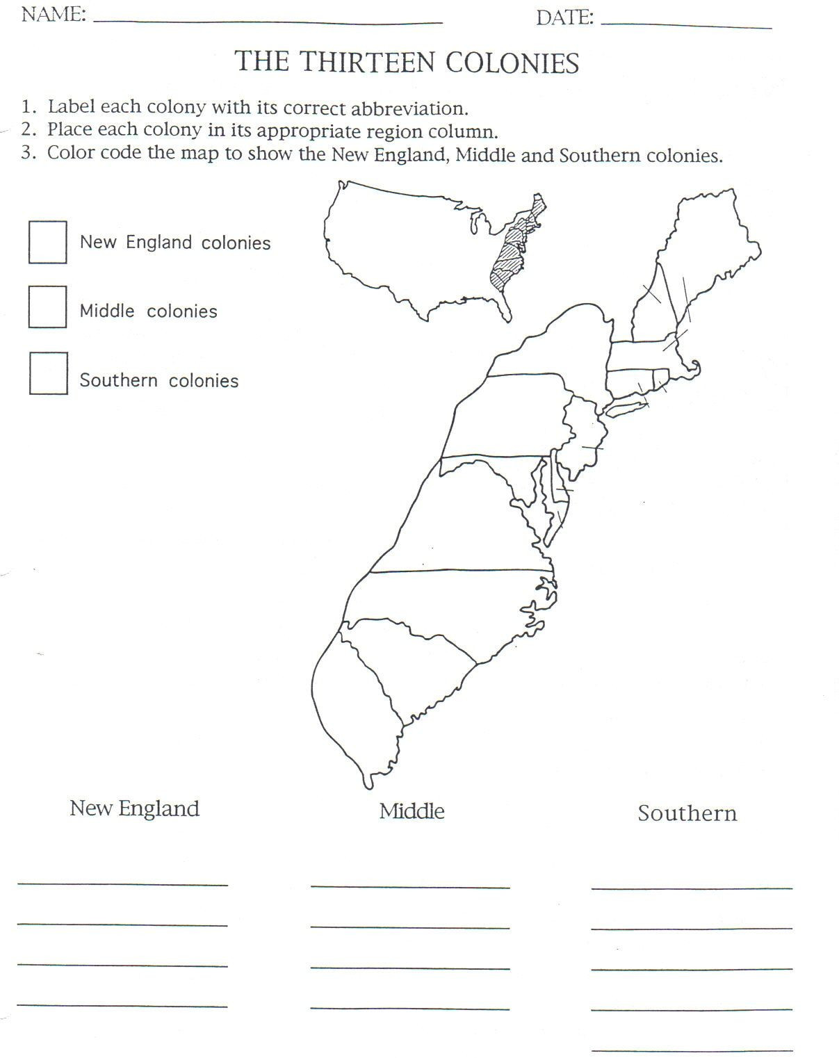 13 Colonies Free Printable Worksheets