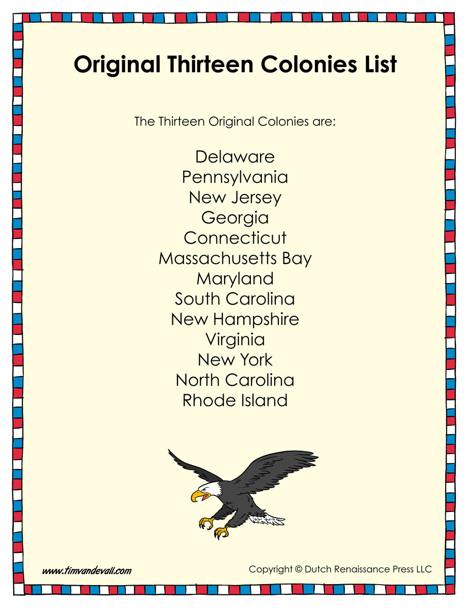 13 Colonies Printable Worksheets