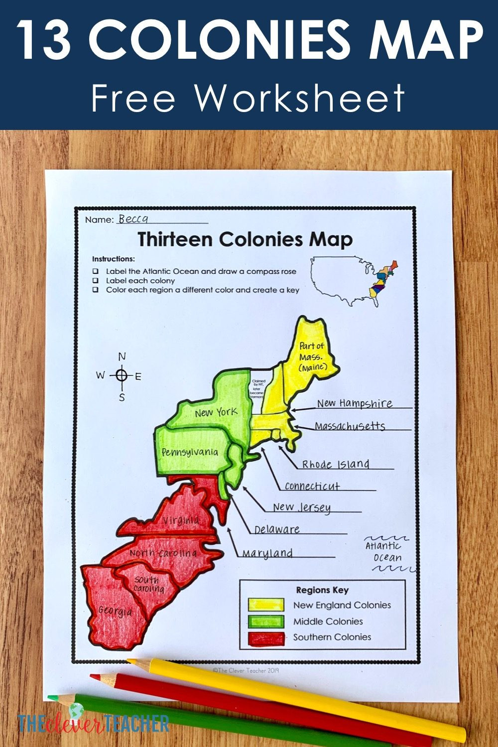 13 Colonies Free Map Worksheet and Lesson for students
