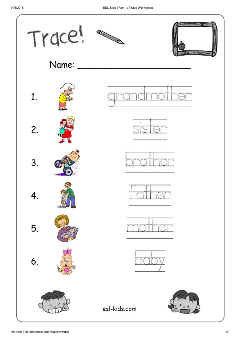 At Family Worksheets for Kindergarten