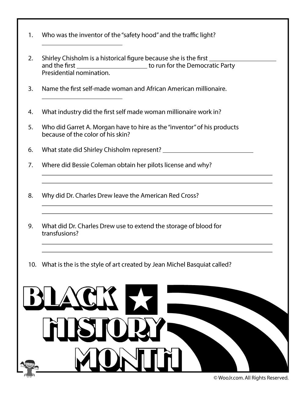 Black History Printable Worksheets