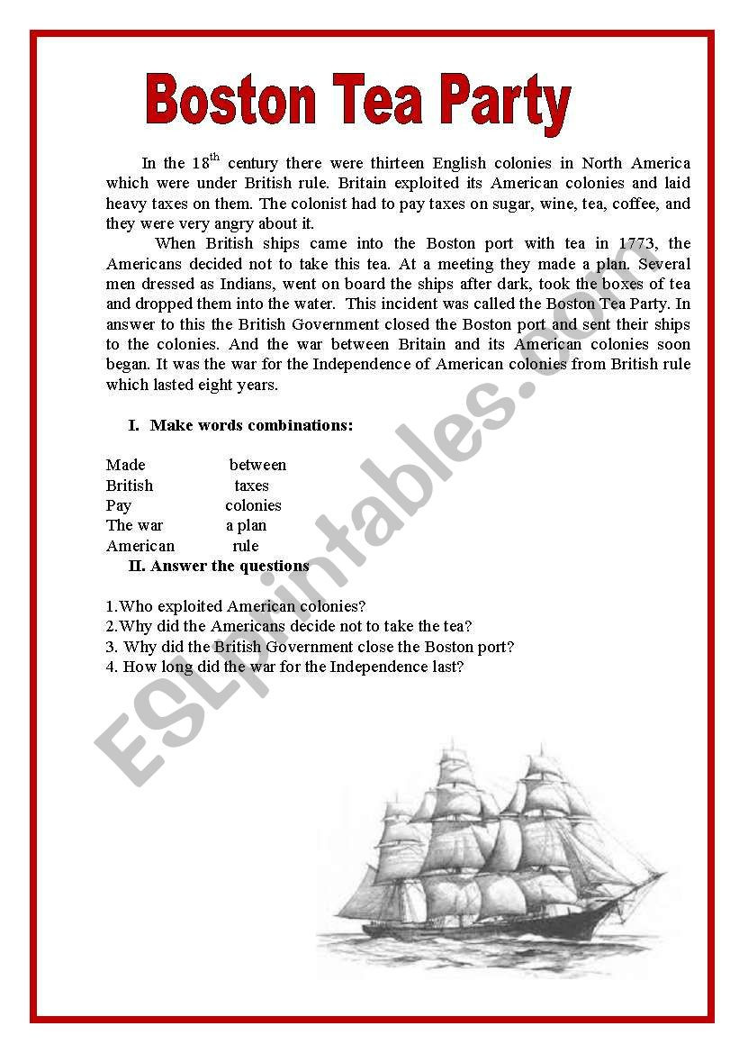 BOSTON TEA PARTY ESL worksheet by spankevich