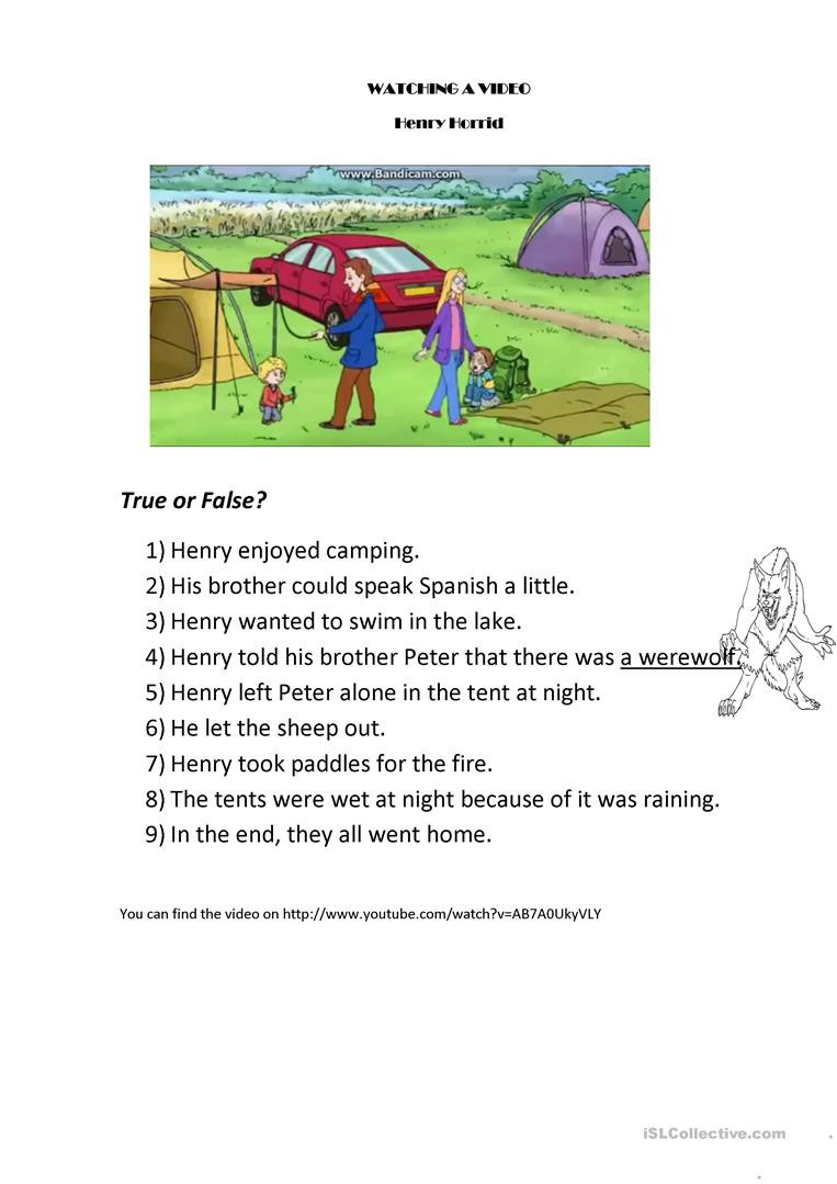 Camping Worksheets for Kindergarten