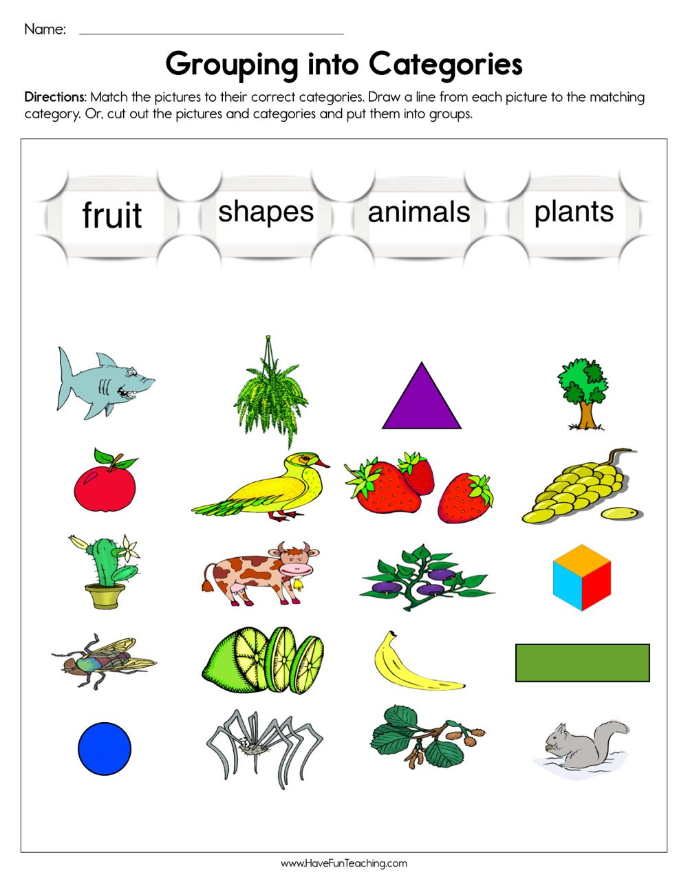 Grouping into Categories Worksheet