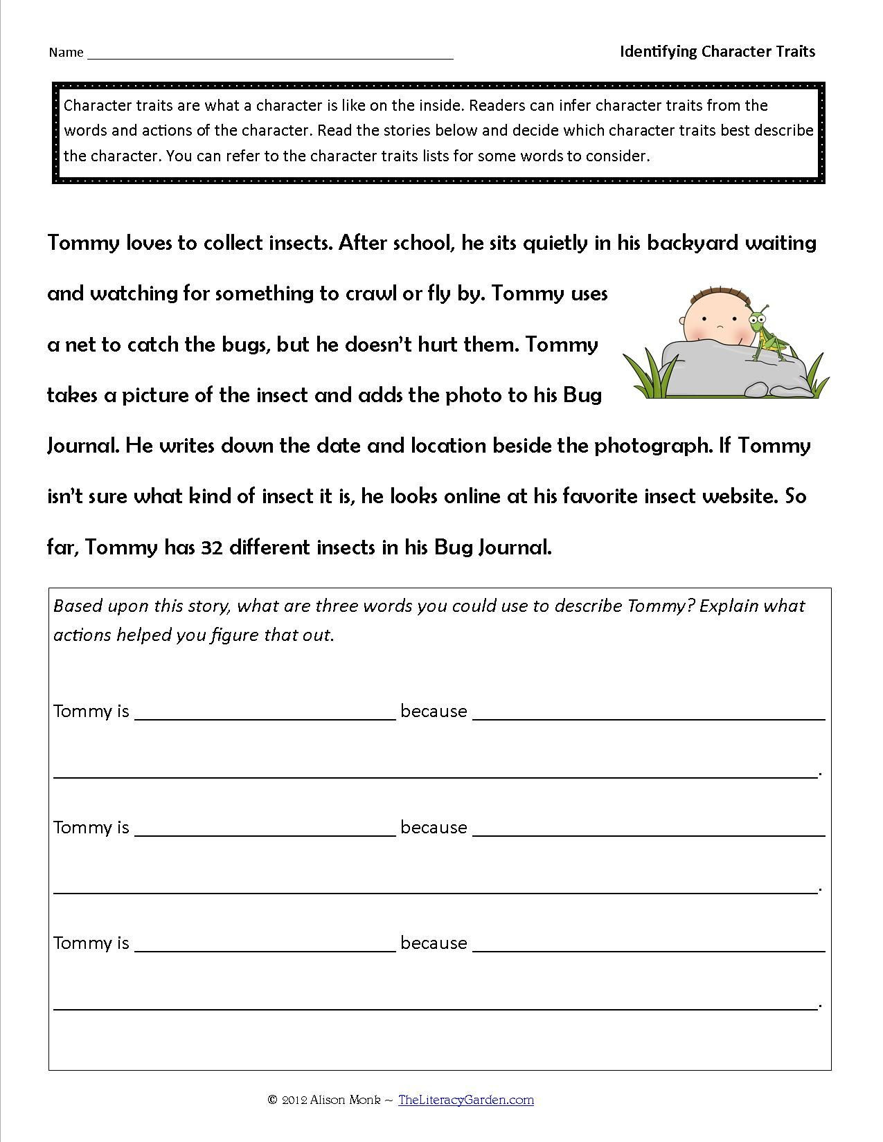 Character Traits Printable Worksheets