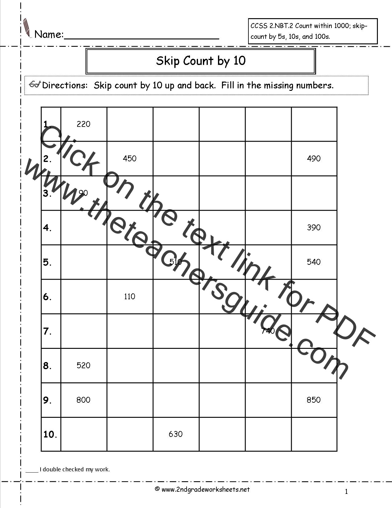 Counting to 100 Worksheets Printable