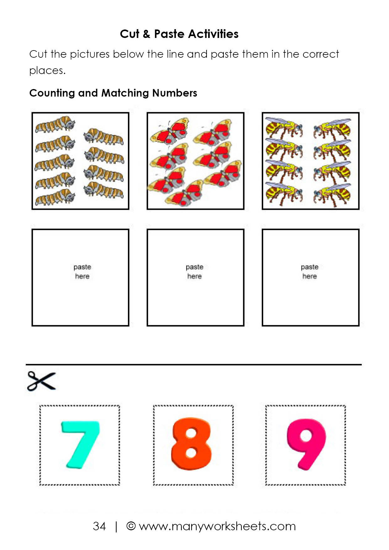 Cut and Paste Worksheets Kindergarten