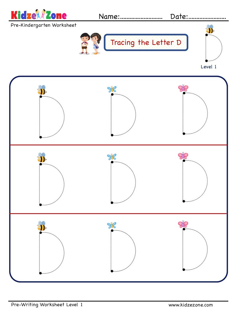 D Worksheets for Kindergarten