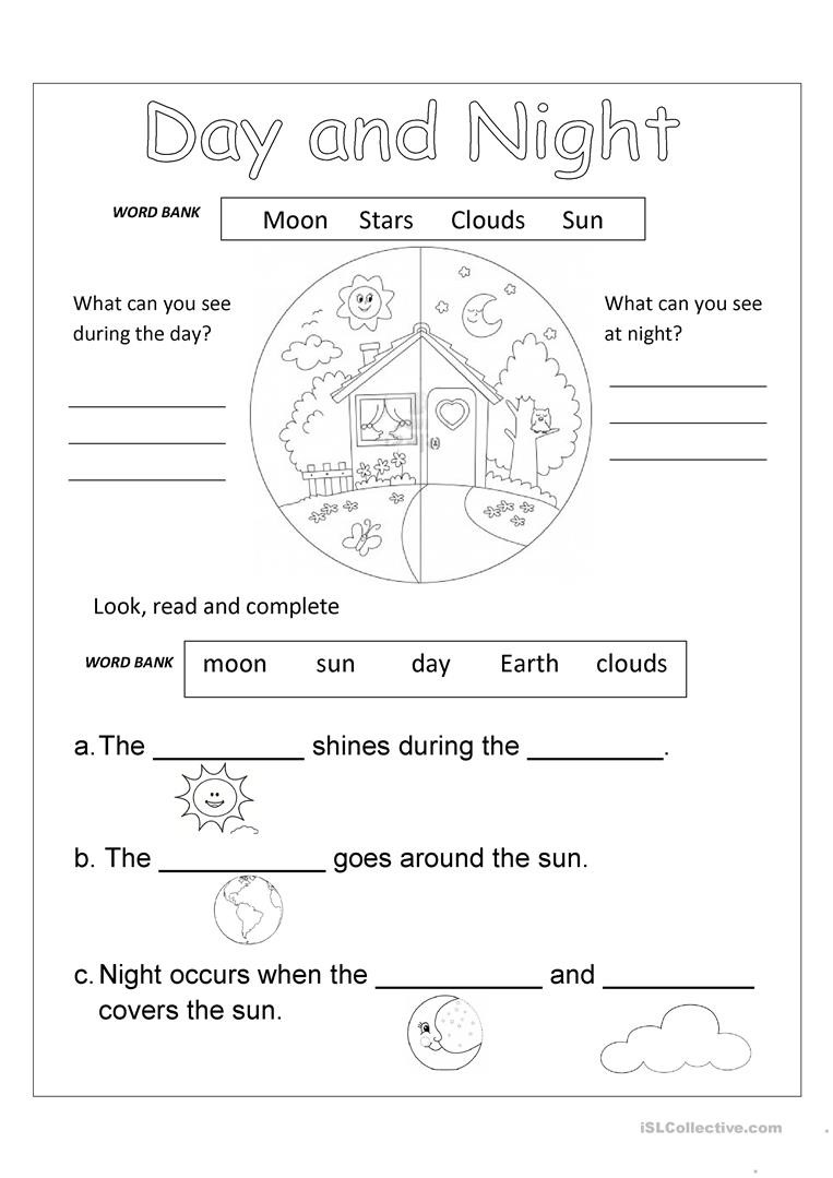 DAY AND NIGHT English ESL Worksheets for distance learning
