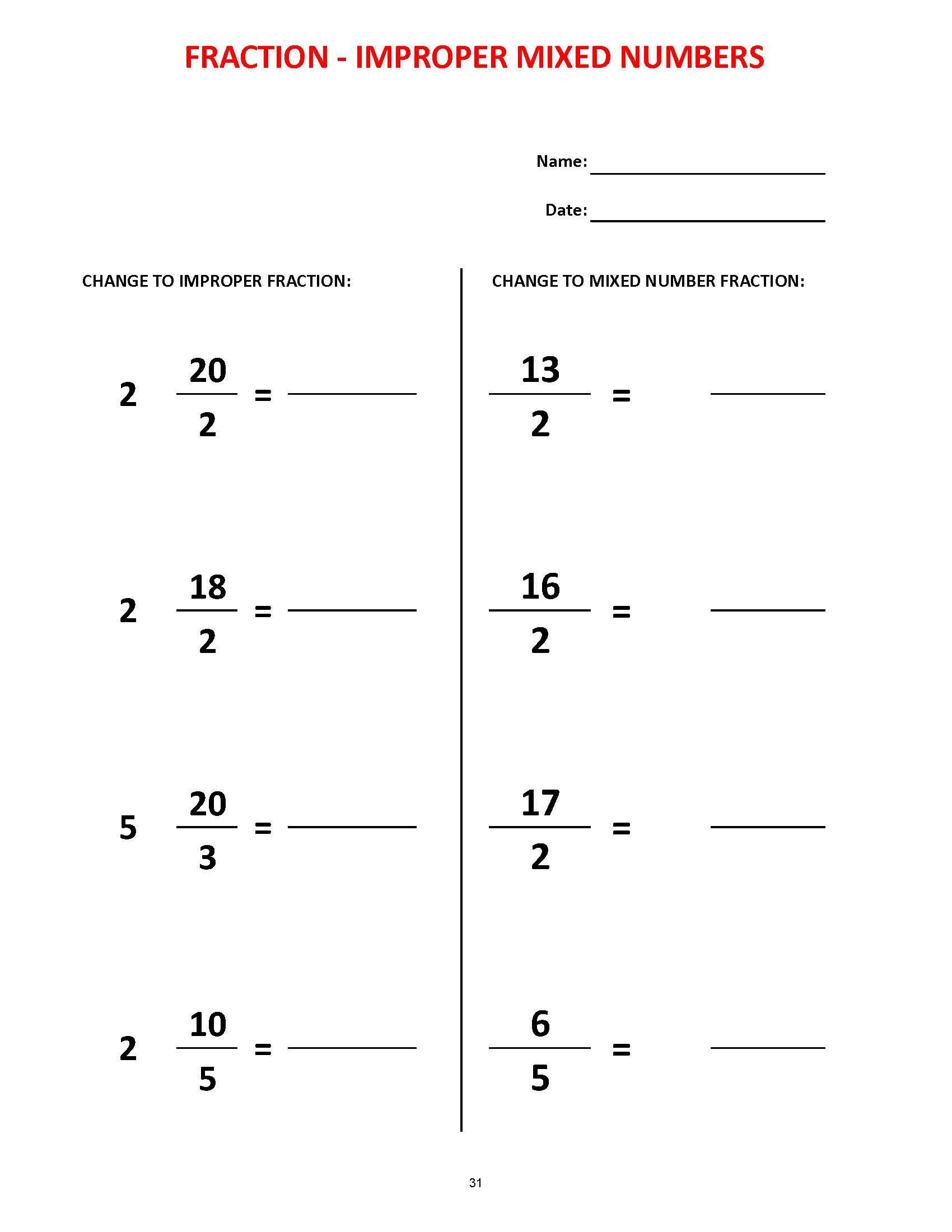 Equivalent Fractions Printable Worksheets