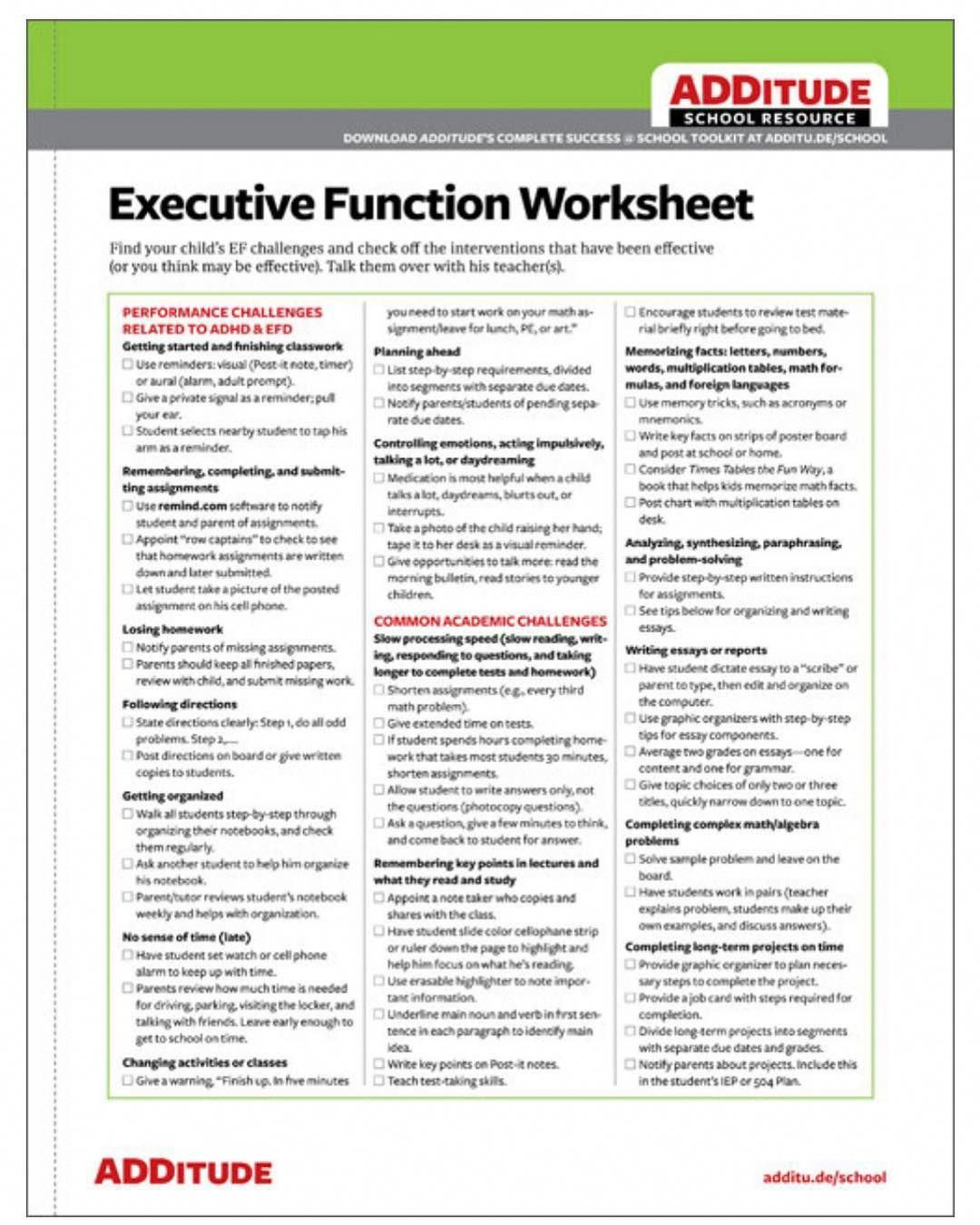 Executive Function Printable Worksheets