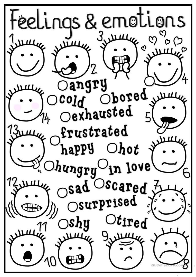 Feelings Worksheets for Kindergarten