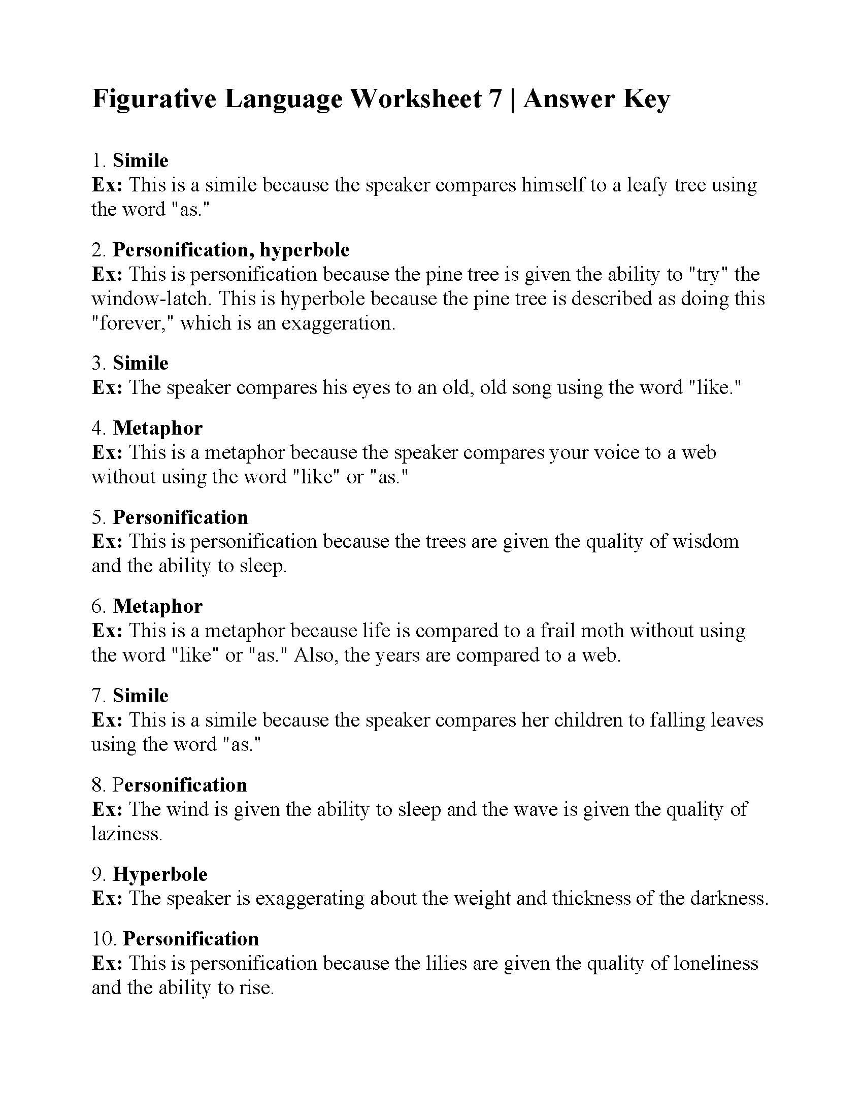 Figurative Language Printable Worksheets