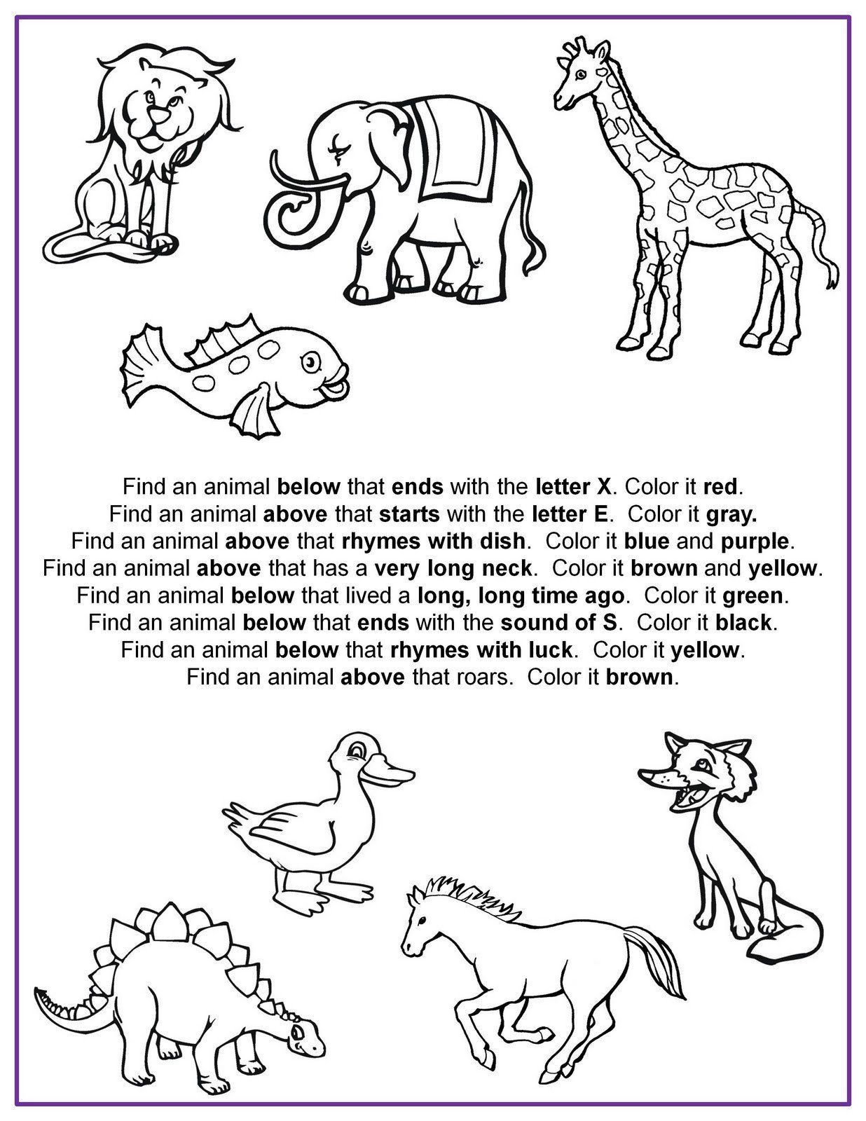 Following Directions Worksheet for Kindergarten