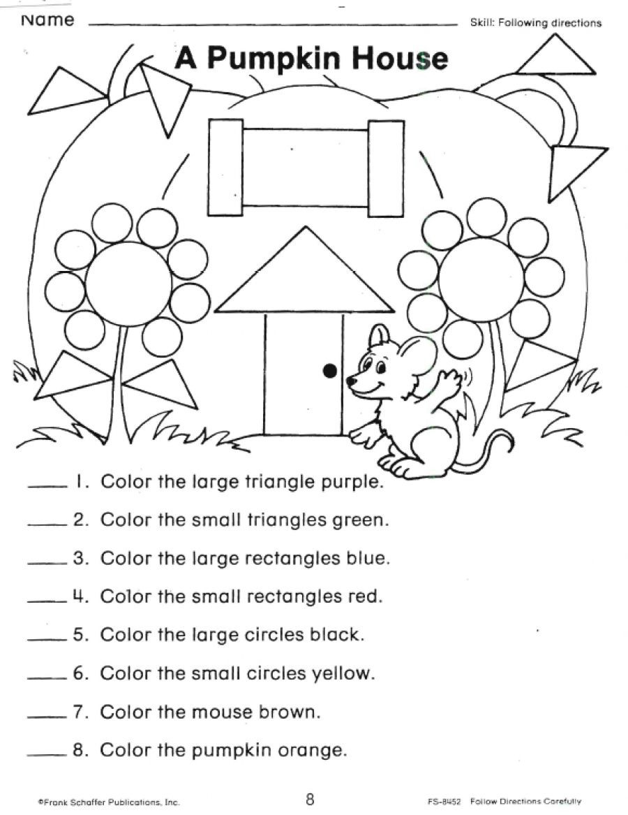 Following Directions Worksheets Shapes