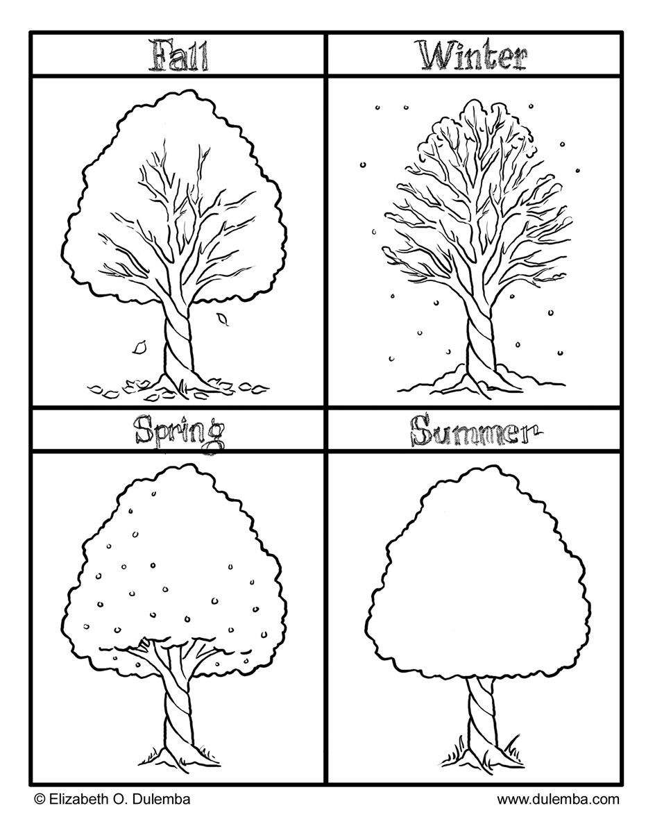 The Four Seasons Colouring Pages