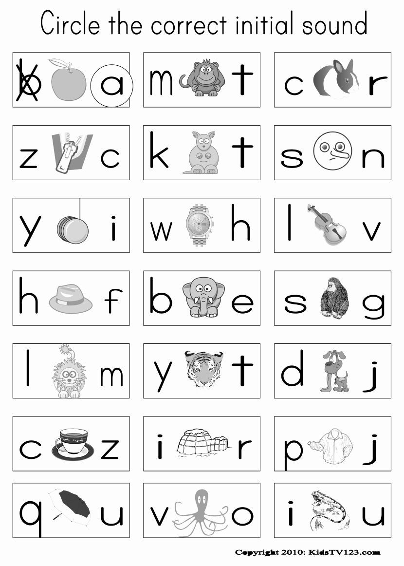 Free Printable Beginning sounds Worksheets