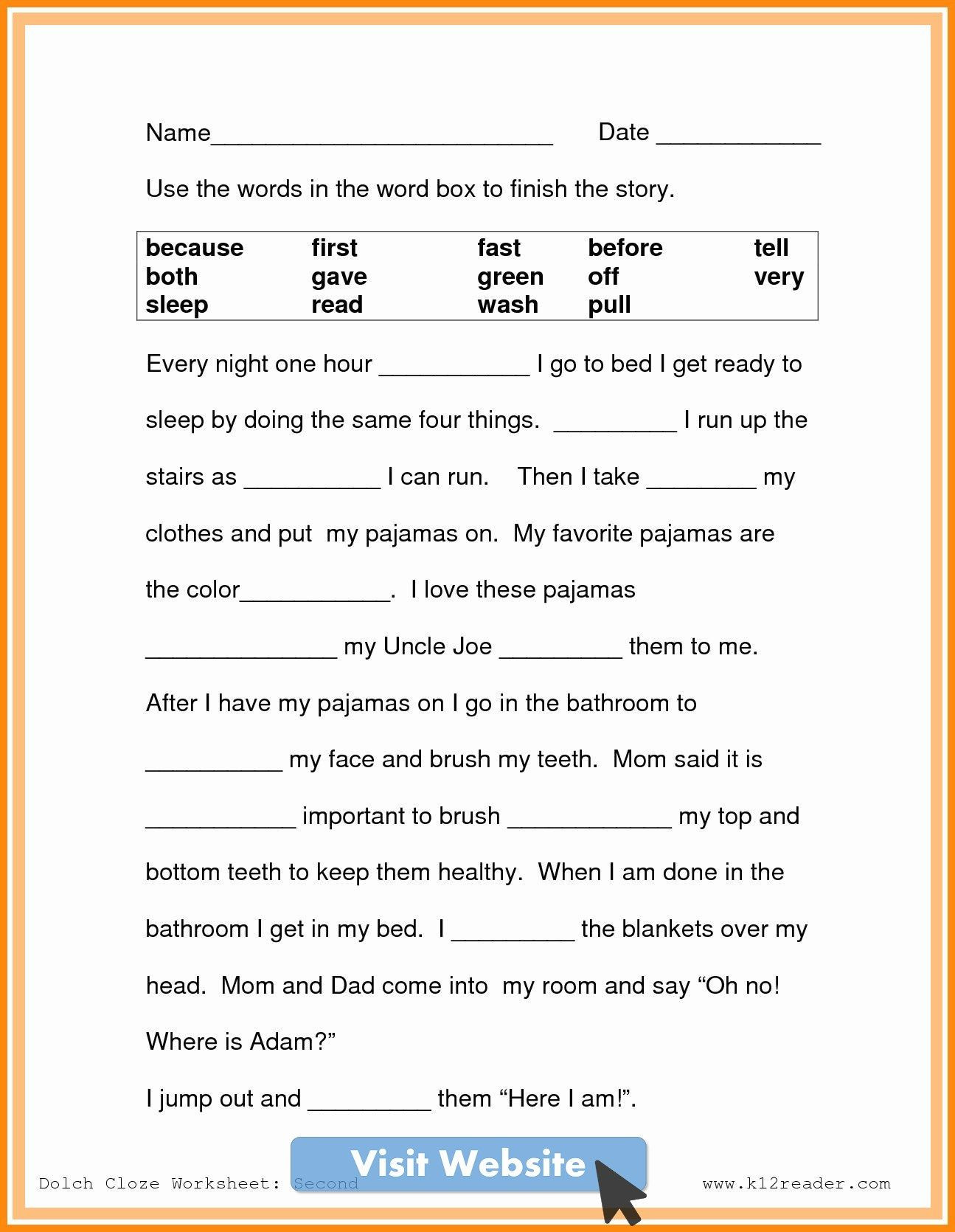Free Printable Cloze Worksheets