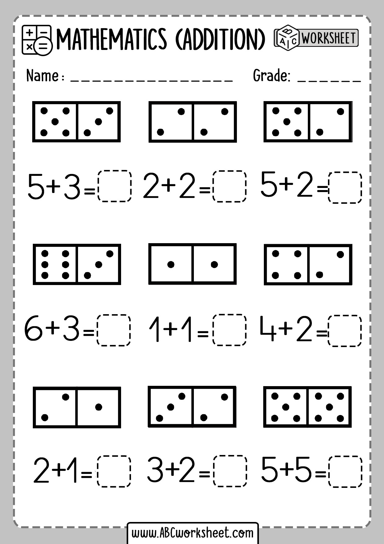 Free Printable Domino Math Worksheets