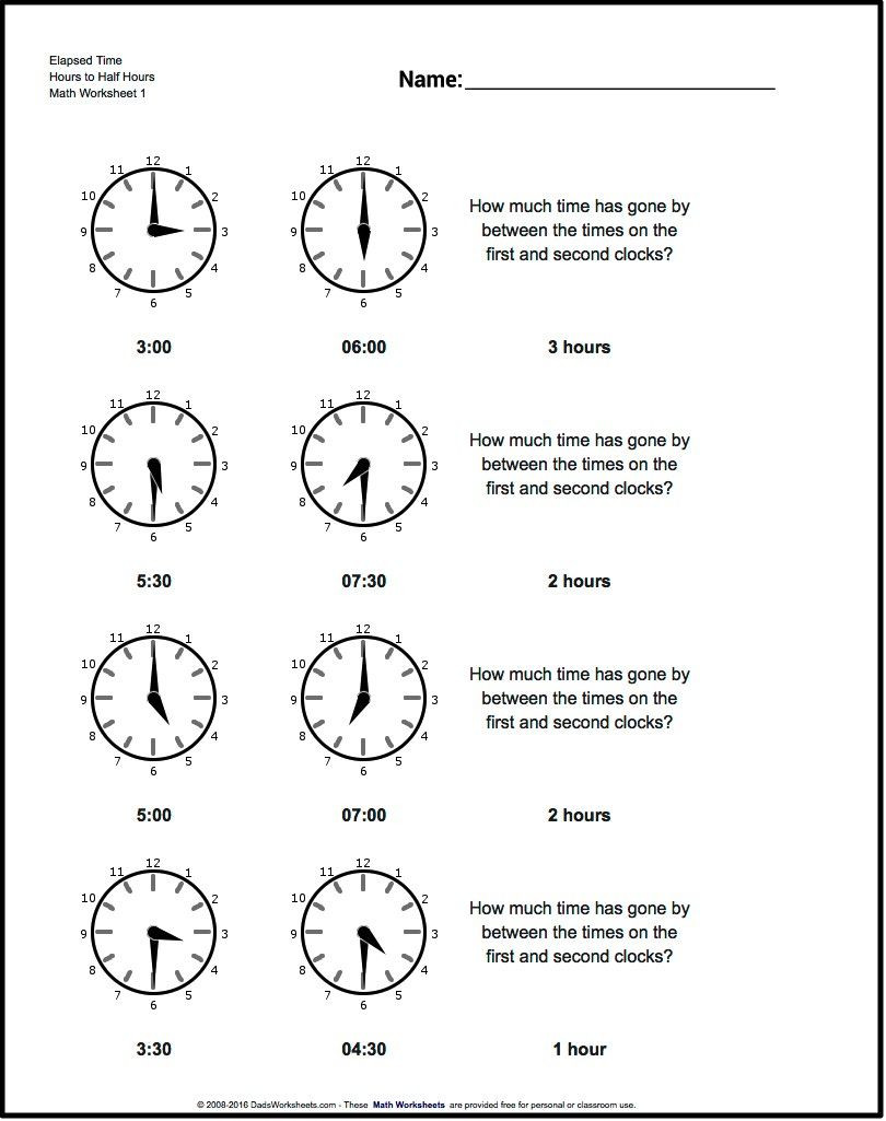 Free Printable Elapsed Time Worksheets