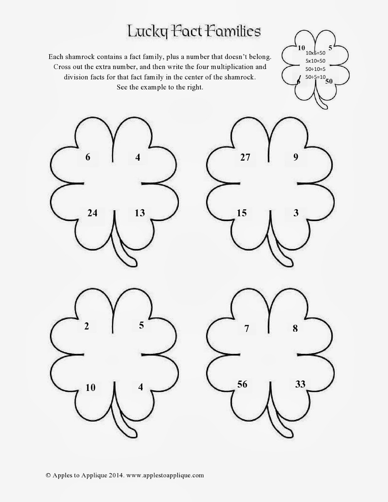 Free Printable Fact Family Worksheets