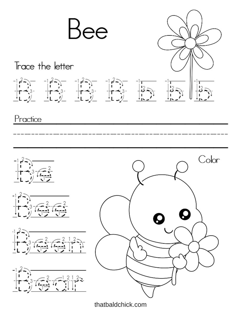 Free Printable Letter B Worksheets