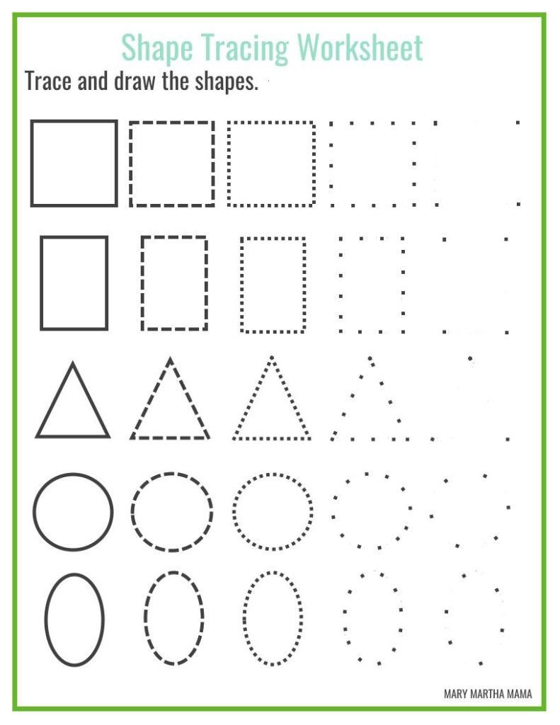Free Printable Tracing Shapes Worksheets