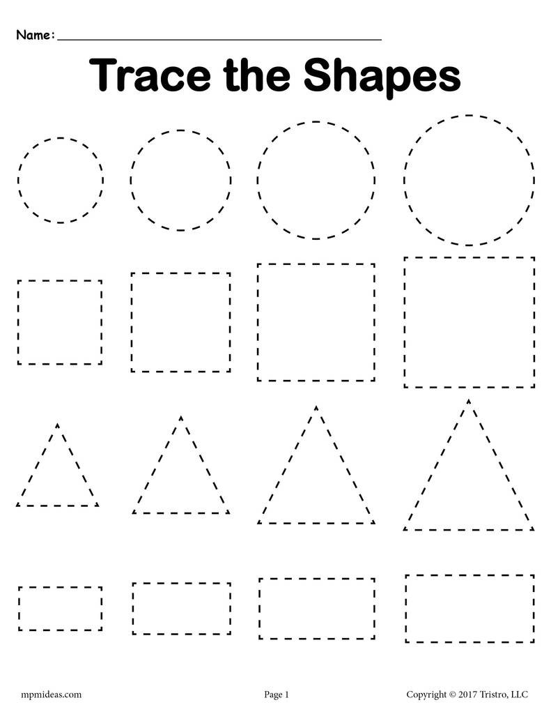 3 Tracing Shapes Worksheets Smallest to st