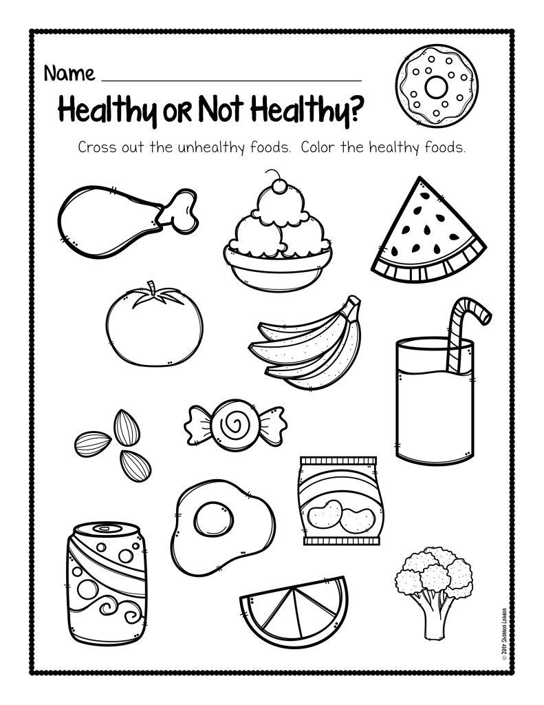 Healthy Habits Worksheets for Kindergarten