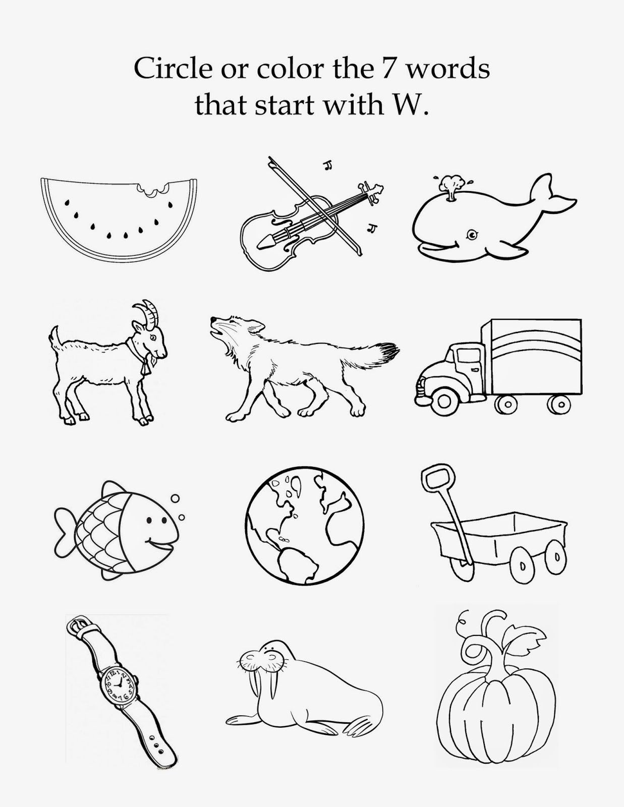 Initial sound Worksheets for Kindergarten