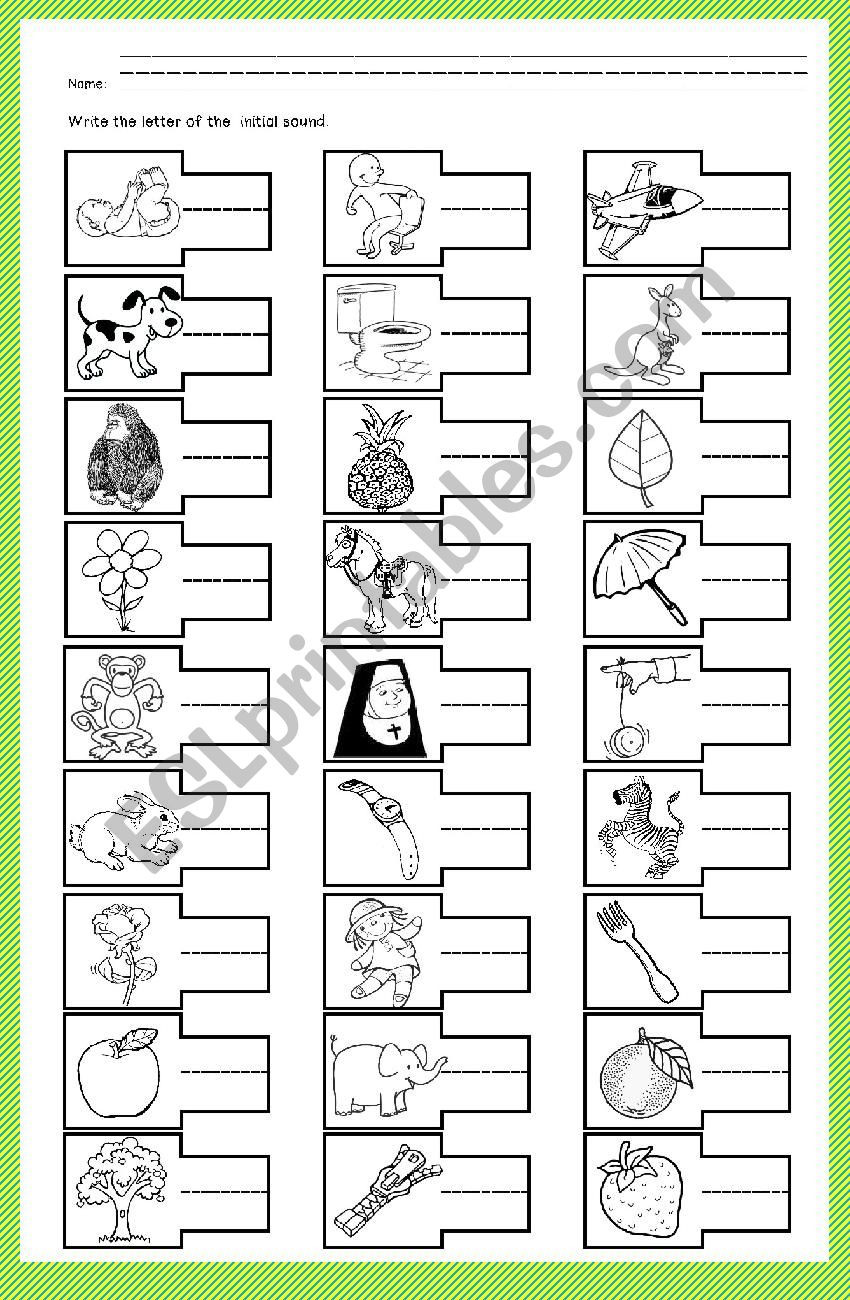 Initial sounds Worksheets for Kindergarten