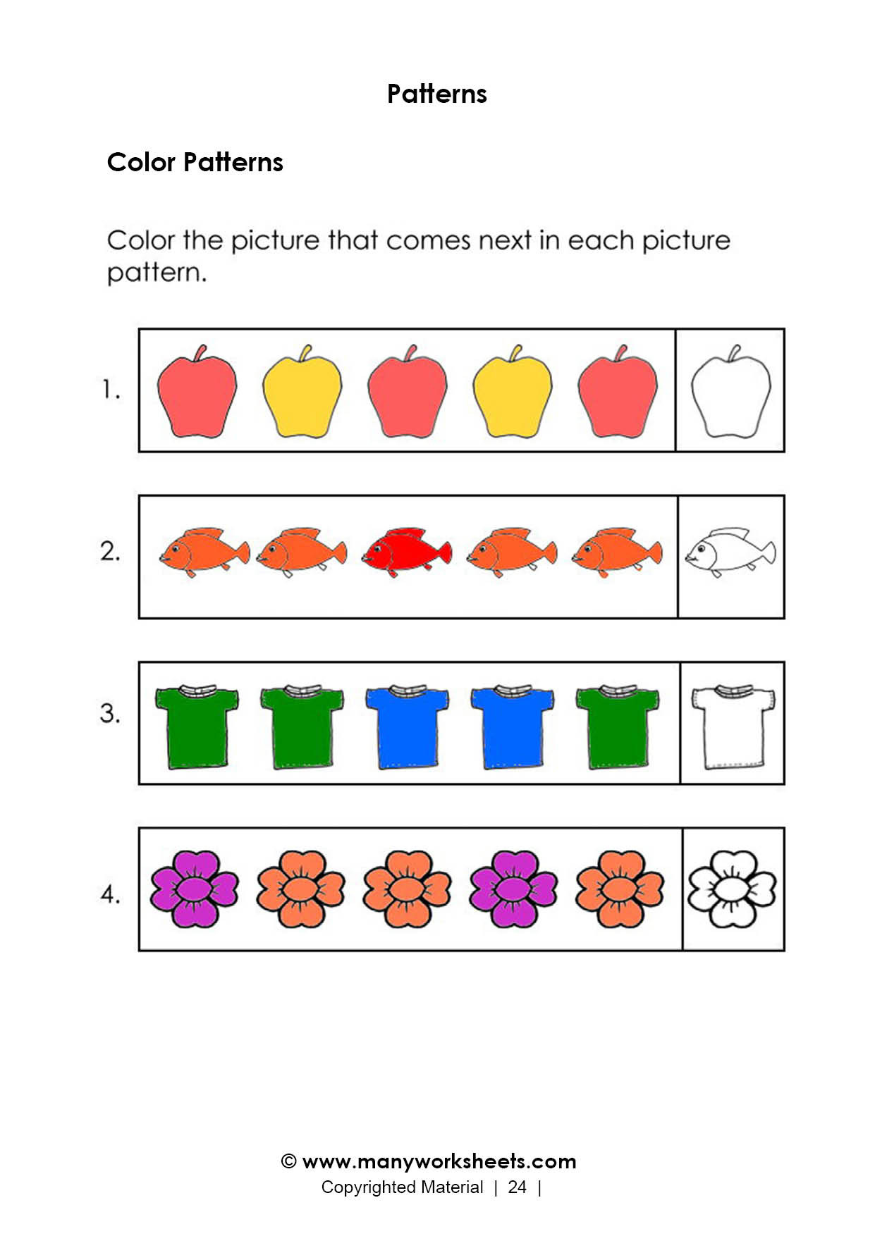 Kindergarten Ab Pattern Worksheets