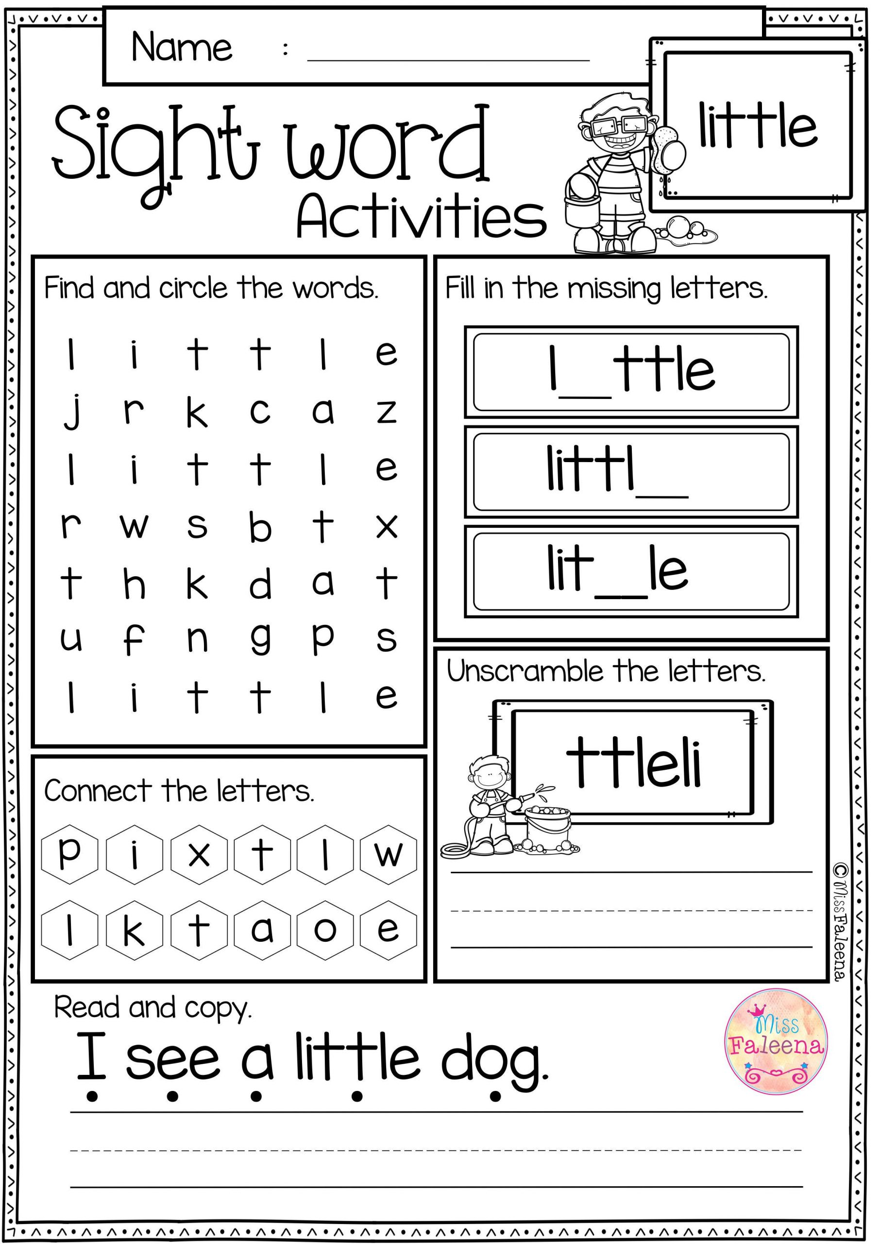 Kindergarten Color Words Worksheets