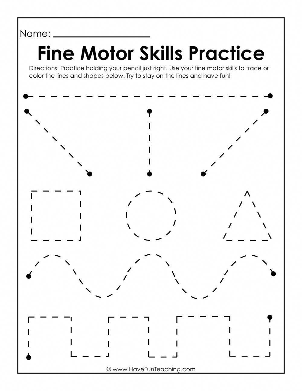 Use this Fine Motor Skills Practice Worksheet to practice
