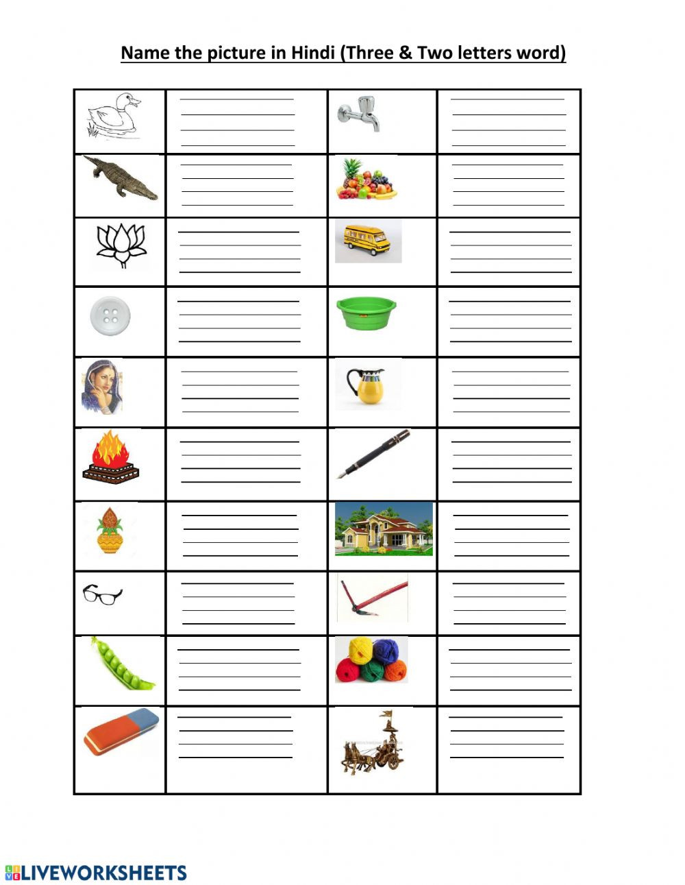 Kindergarten Three Letter Words Worksheets