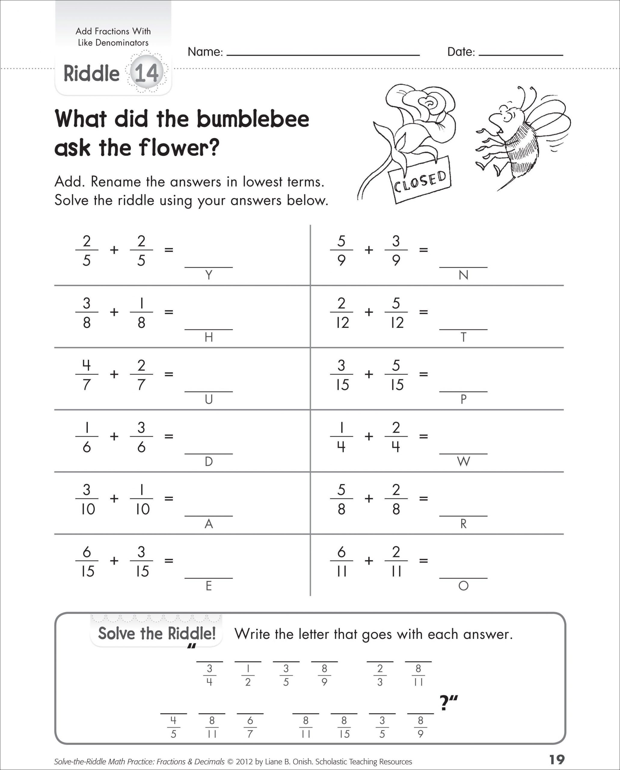 Least Common Denominator Worksheet Printable