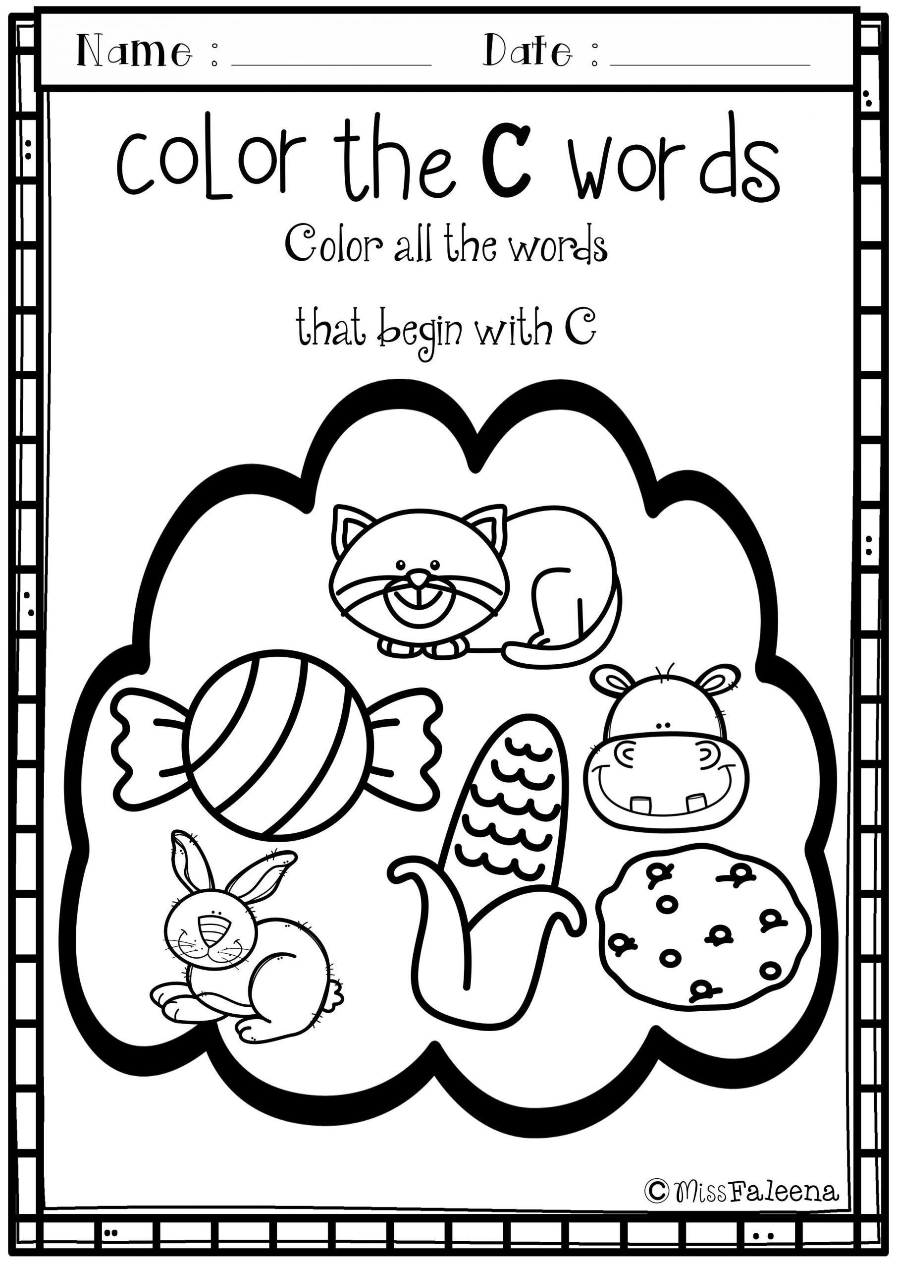 Letter C Worksheets for Kindergarten