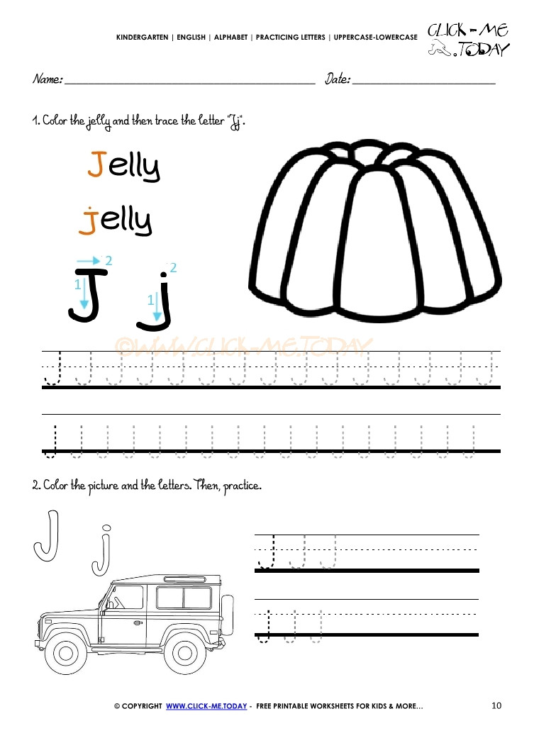 Letter J Worksheets for Kindergarten