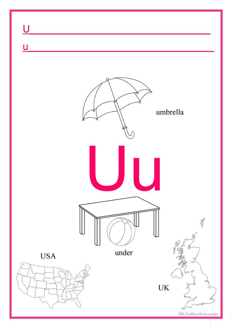 Letter U Worksheets for Kindergarten