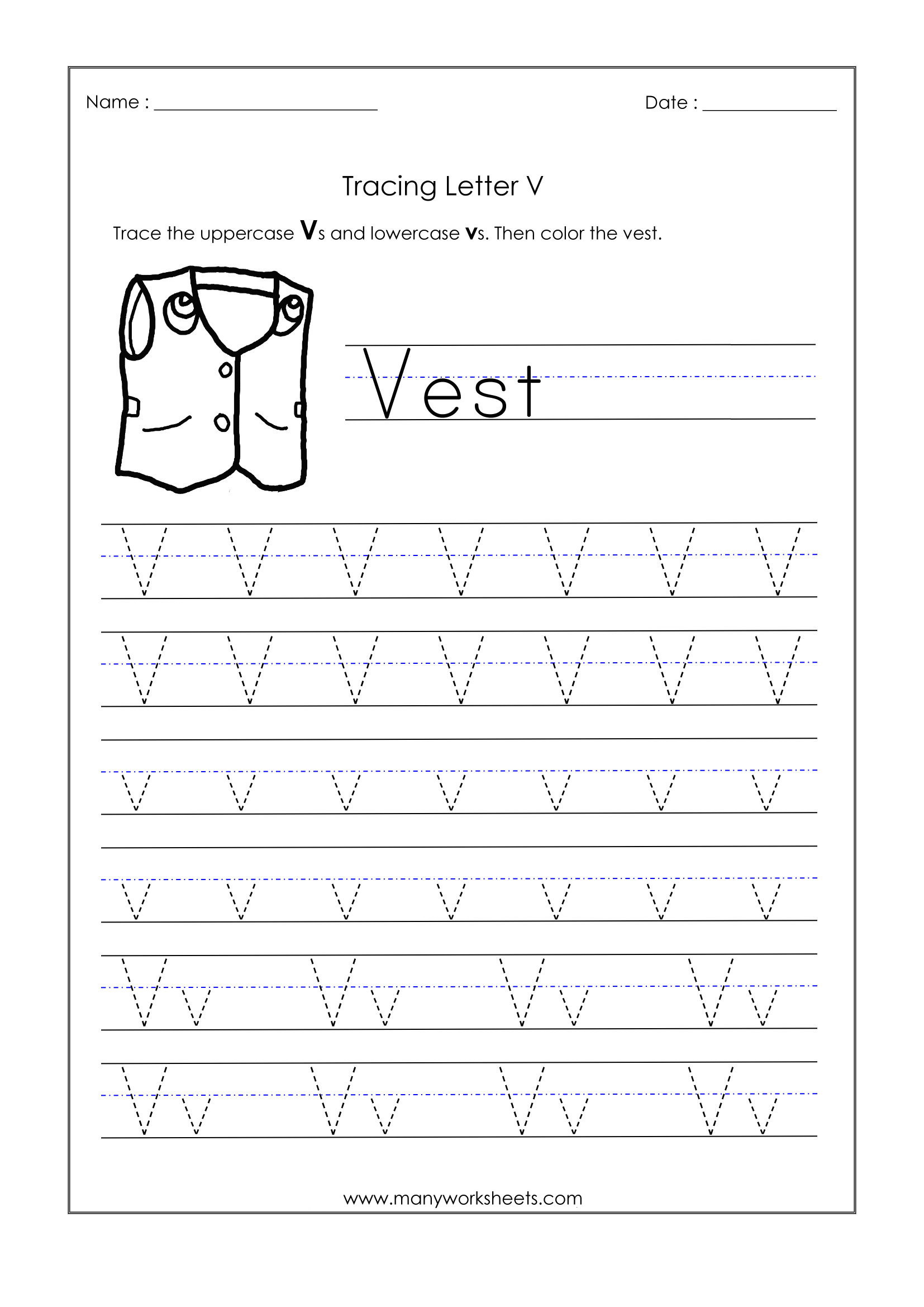 Letter V Worksheets for Kindergarten