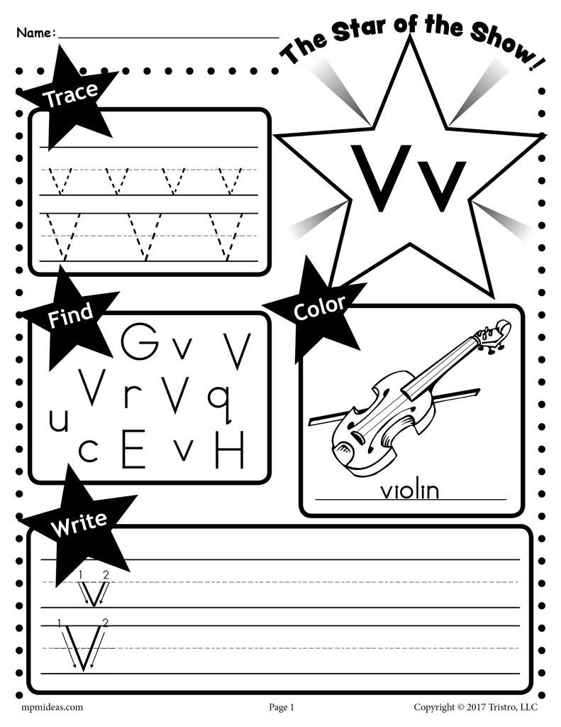 Letter V Worksheet Tracing Coloring Writing & More