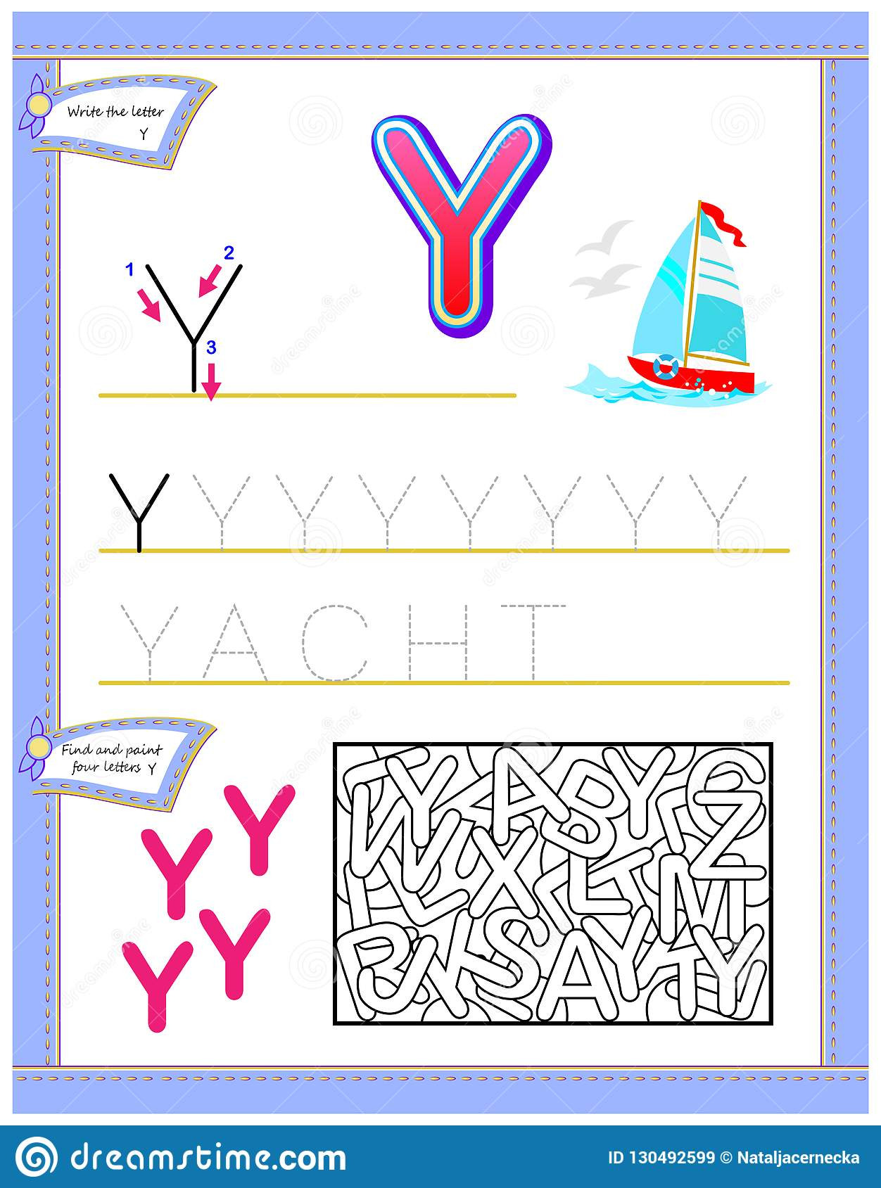 Letter Y Worksheets for Kindergarten