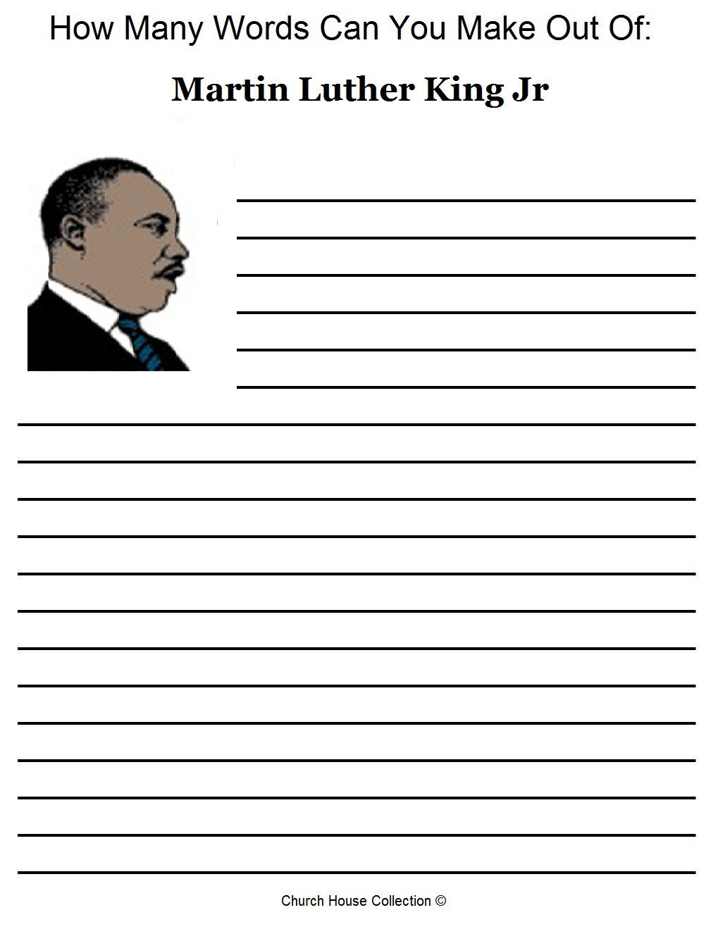Martin Luther King Worksheets Kindergarten