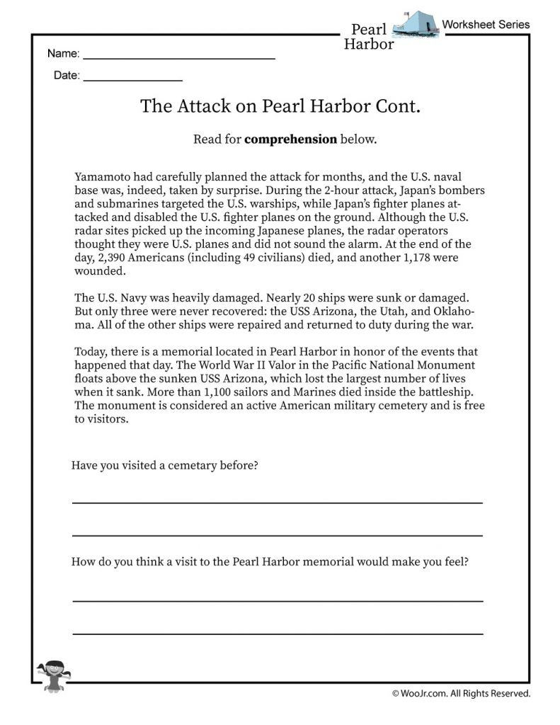 Pearl Harbor Printable Worksheets