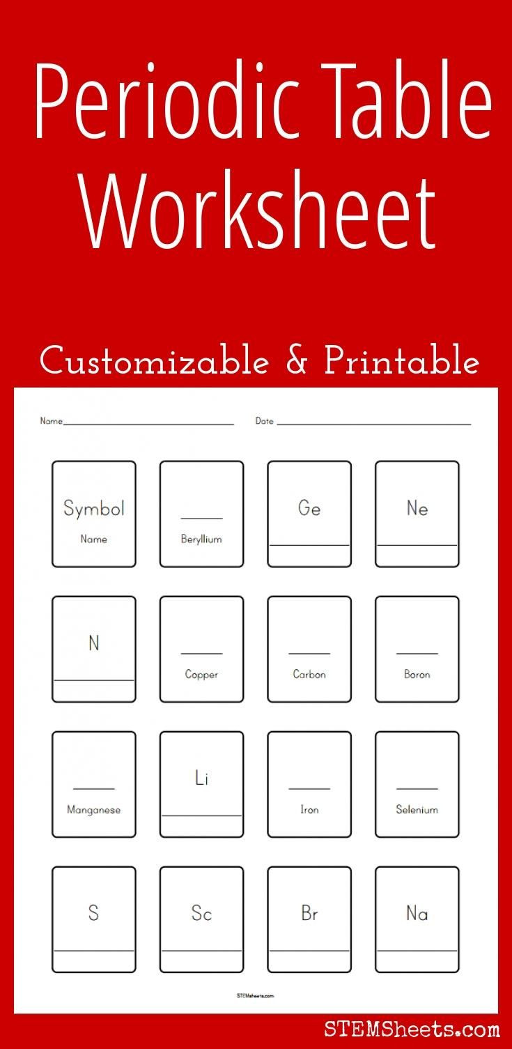 Periodic Table Printable Worksheets