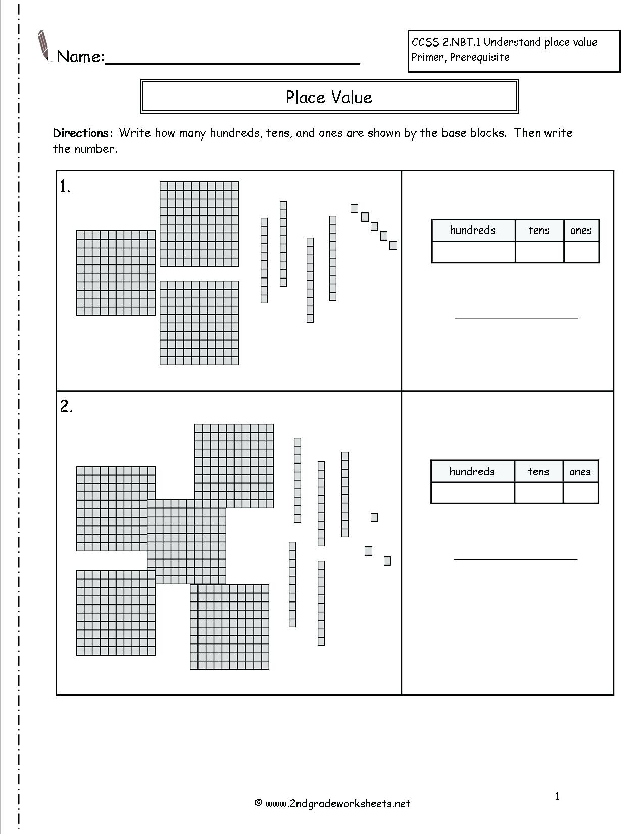 Place Value Worksheet Printable
