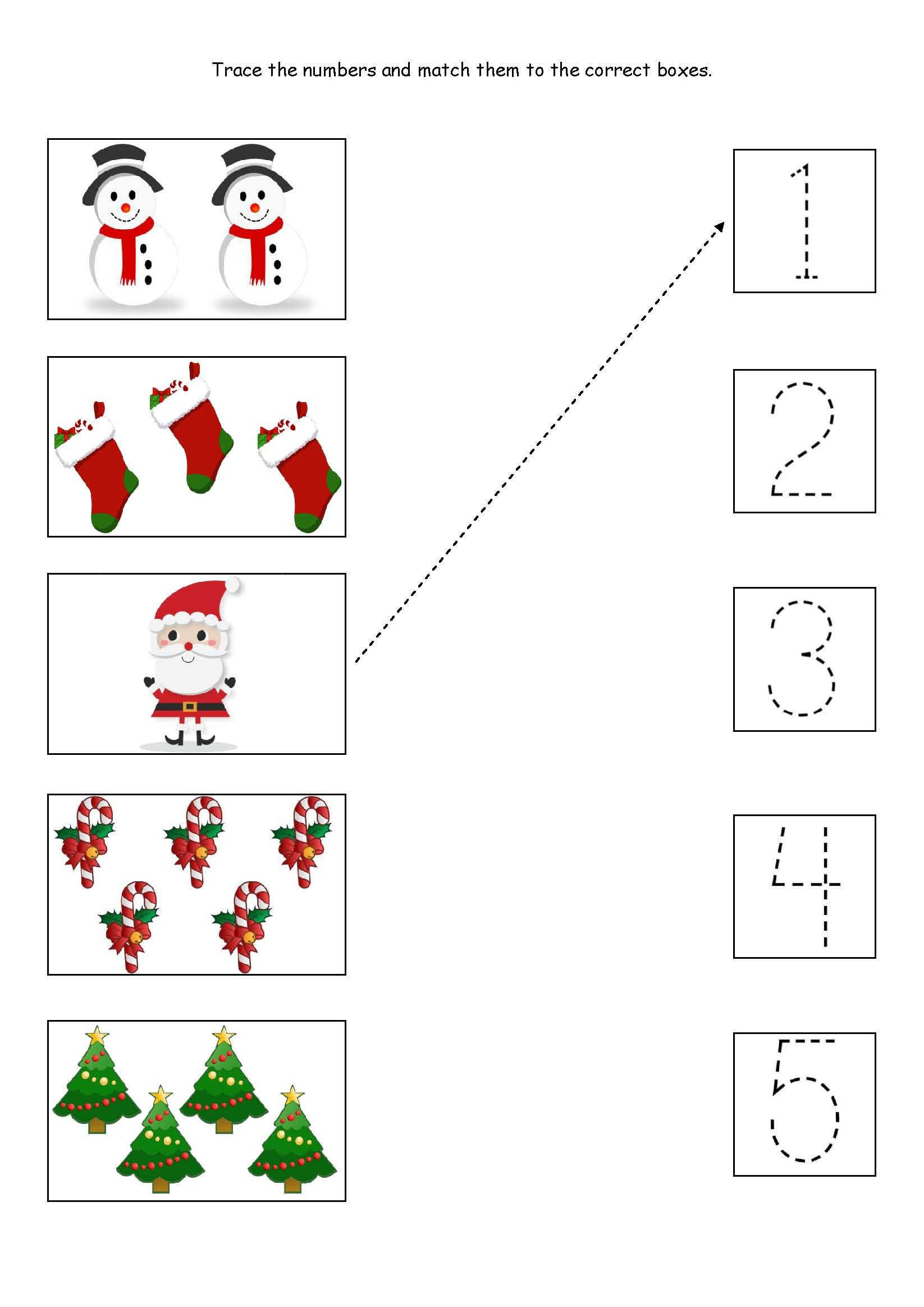 Cute little Christmas counting matching and tracing
