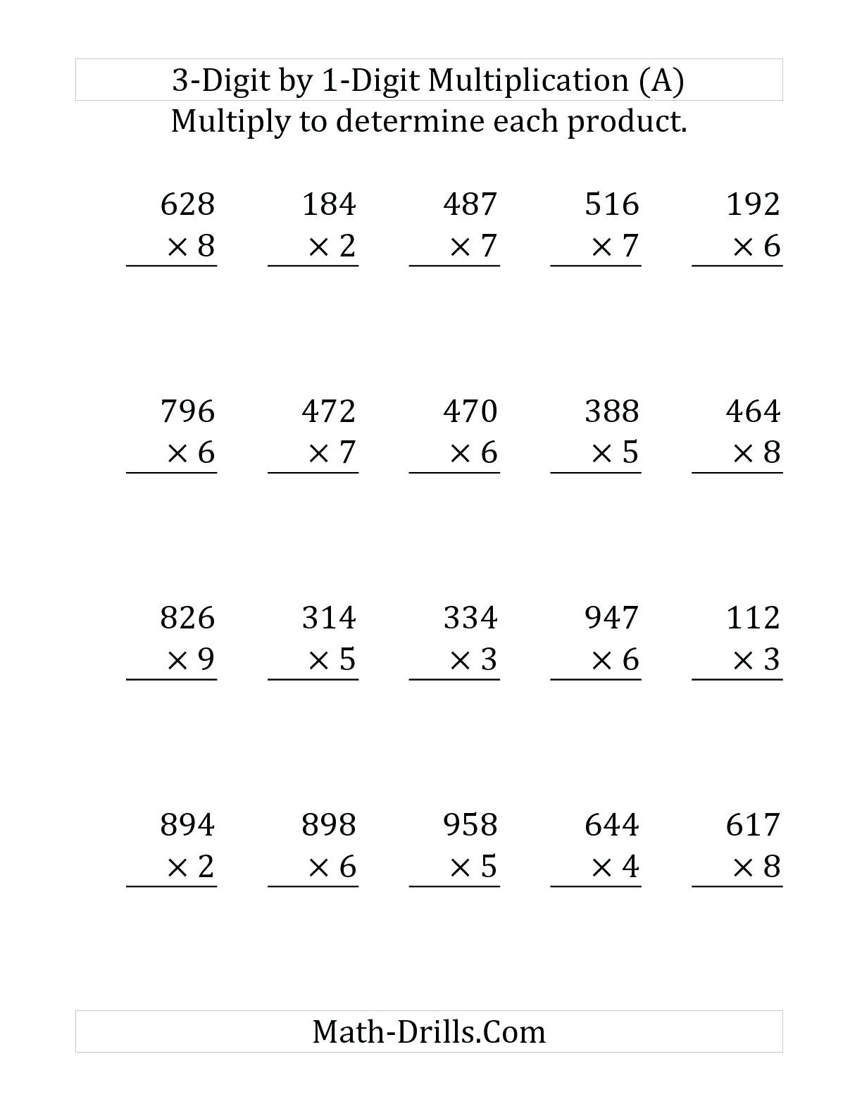 Printable 2 Digit Multiplication Worksheets
