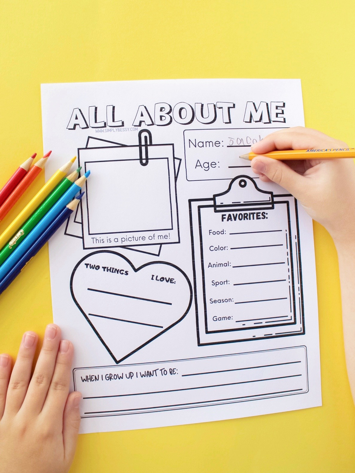 Printable All About Me Worksheet