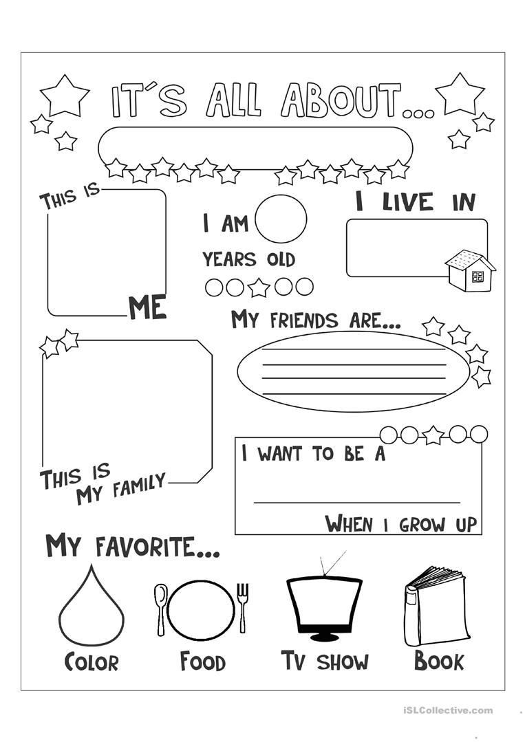 Printable All About Me Worksheets